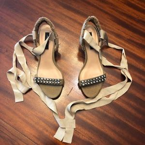 Ann Taylor Wedges with Crystal Stones